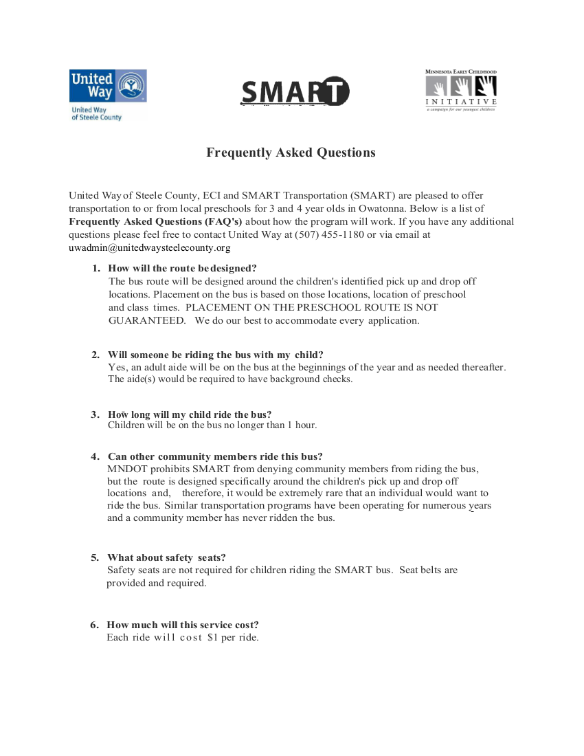SMART Bus Transportation FAQ